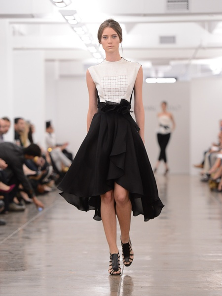Clifford, Fashion Week spring 2013, Carmen Marc Valvo, black skirt with white blouse