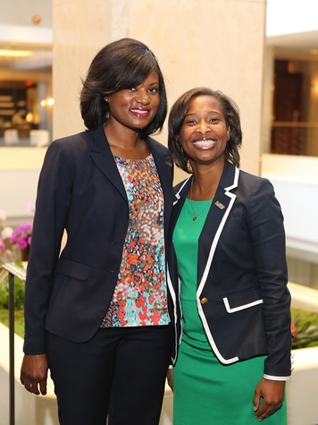 Emi Gilbert, left, and Norisha Kirts at the LSU Foundation luncheon June 2014
