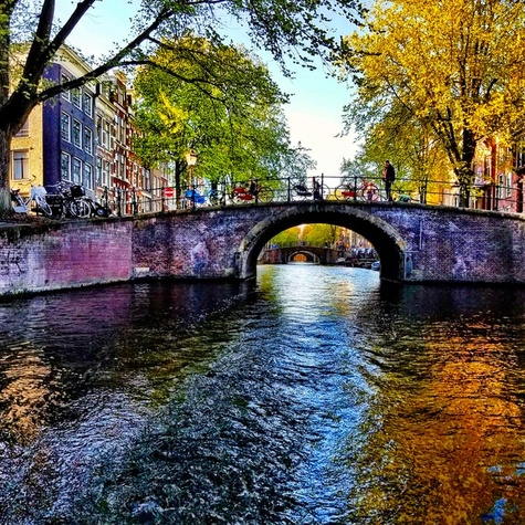 One of the many canals of Amsterdam
