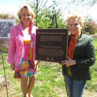 Emily Connor, left, and Bette Midler Ann Richards Memorial Garden in New York May 2014