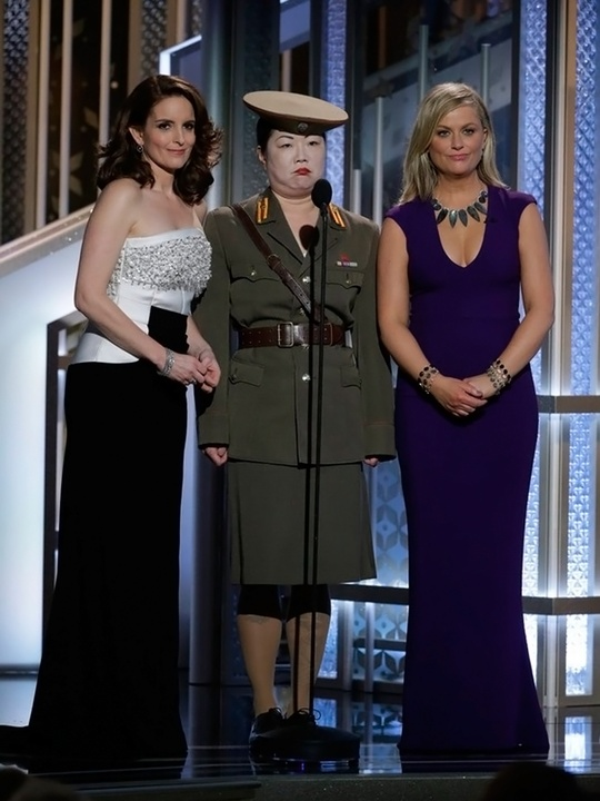 Tina Fey, Margaret Cho and Amy Poehler at Golden Globes 2015