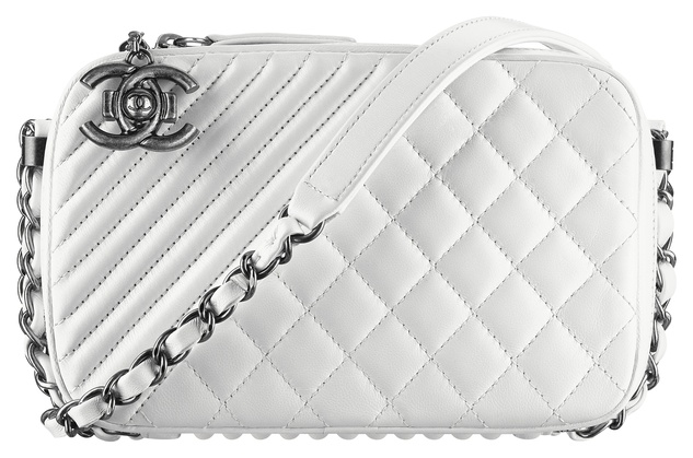 Chanel white leather camera case