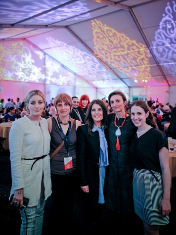 Leen Baasiri, from left, Annick Dekiouk, Rudeina Baasiri, Veronique Prentia and Zoe Goldman at the FotoFest opening party March 2014
