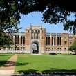 Rice University framed by trees