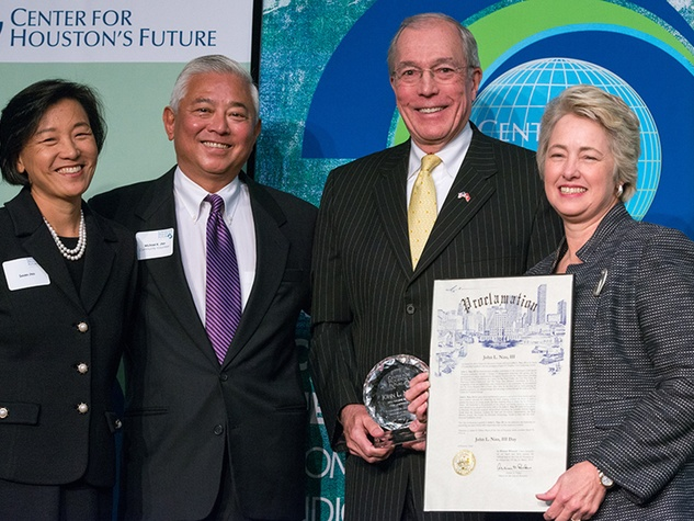 5 Susan and Michael Jhin, from left, John Nau III and Mayor Annise Parker at the Future of Leadership luncheon April 2014
