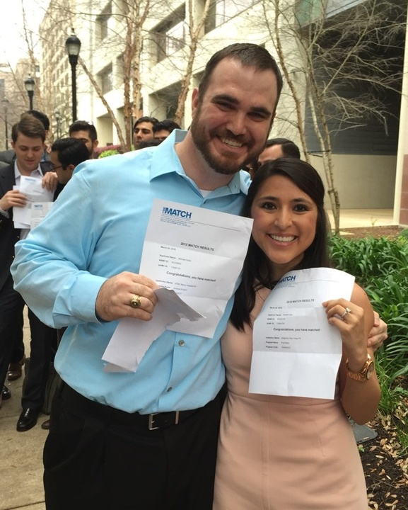 UT Health med student Natalie Diaz and Michael Keller on Match Day