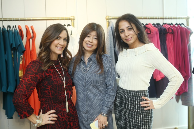 2 Courtney Zavala, from left, Rose Chen and Fatema Naqvi at the David Peck spring summer 2015 fashion show March 2015
