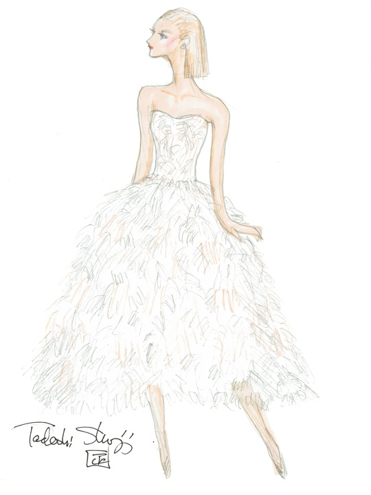 Tadashi Shoji sketch for NY Fashion Week fall 2015