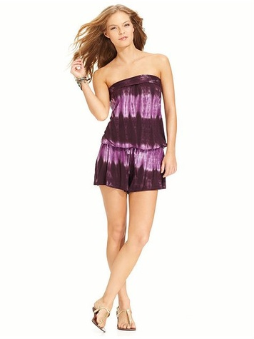 Lucky Brand Cover Up, Strapless Tie-Dye Romper