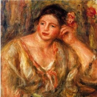 News_Renoir_Madalaine Leaning on Her Elbow with Flowers in Her Hair_stolen