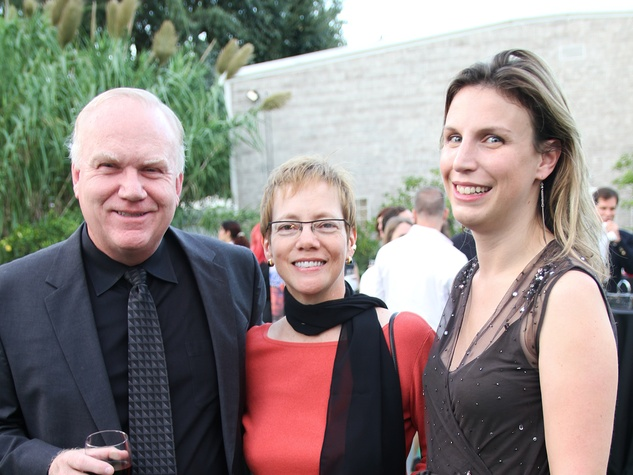Bob and Lillian Warren, from left, with Sarah Stauder at the Bill Viola Aurora Picture Show Award party October 2013
