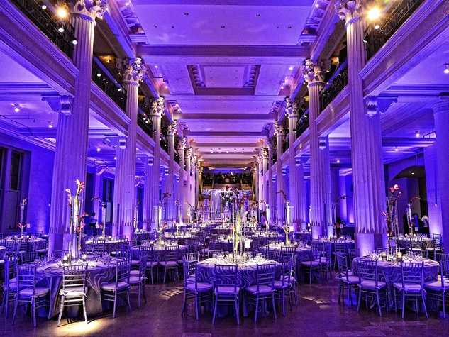 Wonderful Weddings, Courtney Zubowski, March 2013, The Corinthian, lavendar lighting, venue