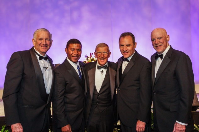7 Dr. Robert Sloan, from left, Spencer Tillman, Lou Holtz, Vic Shealy and Bob McNair at the  Houston Baptist University Lou Holtz dinner November 2014