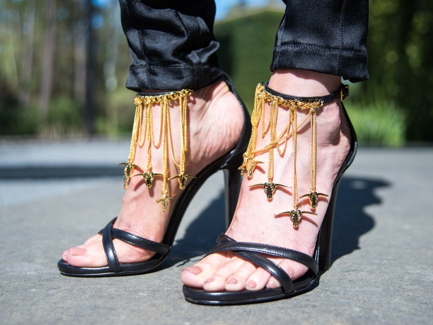 14 Strappy black shoes with longhorn jewelry at Joyce Echols Shoes Preview March 2015