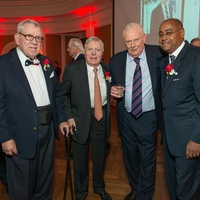 Bill Hobby, from left, Joe Jamail, Herb Kelleher and Rodney Ellis at the Bill Hobby Roast January 2015
