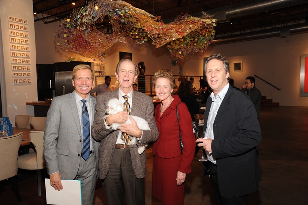 10 7224 Jonathon Glus, from left, Brad Bucher, Laura Bellows and Ron Witte at the reception for Jamie Bennett November 2014