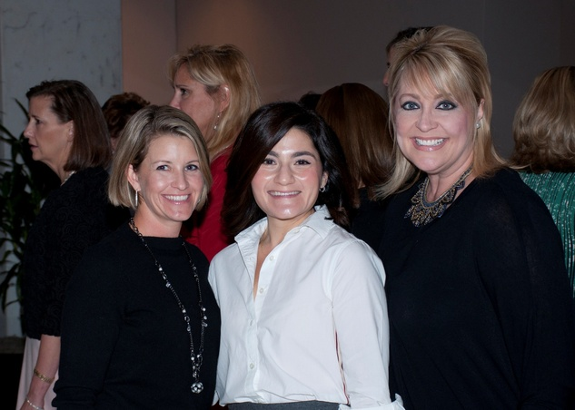 Elizabeth Kimzey, from left, Jordan Folloder and Cristina Cramer at the Spring Branch Education Foundation luncheon November 2014