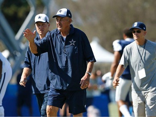 Dallas Cowboys defensive coordinator Monte Kiffin at training camp in Oxnard, Calif