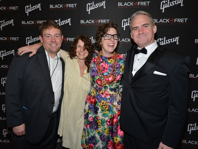 Gibson Black Ball Red Carpet Black Fret founder Colin Kendrick, Black Fret grant recipient Elizabeth McQueen and Black Fred co-founder Matt Ott