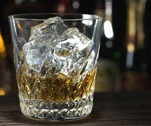 whiskey, glass, on the rocks, ice