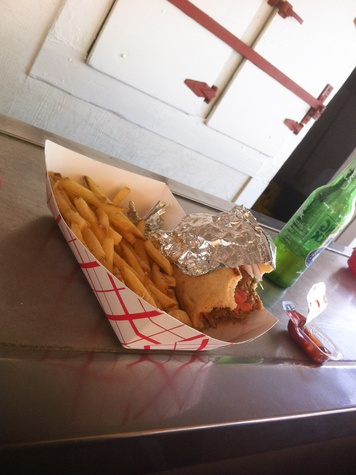 West Alabama Ice House, sandwich, burger, french fries, March 2013