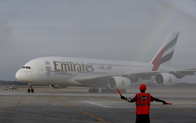 1 Emirates' inaugural A380 flight to George Bush Intercontinental Airport touches down on Wednesday, Dec. 3, 2014, in Houston