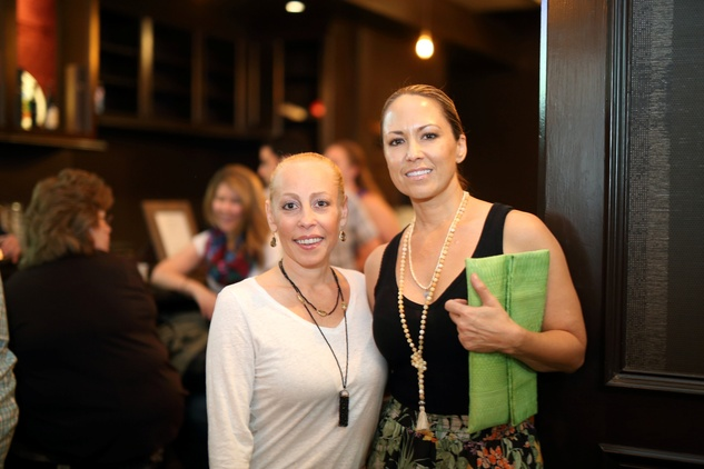 Brittany Zucker, left, and Marianne Mayeux at the Springbok restaurant kick-off party July 2014