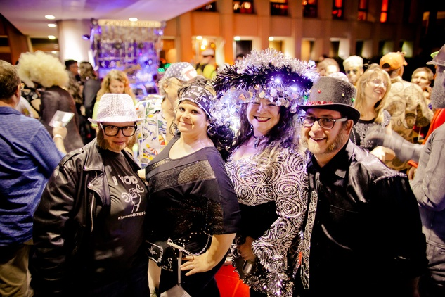 227 Courtney Azizeh, from left, Kristi Odom Nicole Strine and Ben Dover at the Art Car Ball April 2015