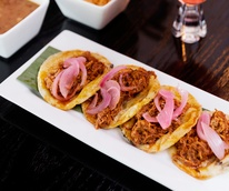 La Bikina in The Woodlands tasting September 2014 Panuchos tacos 2