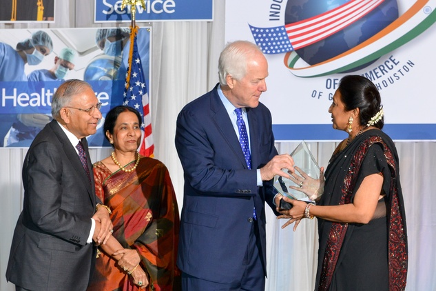 Durga and Sushila Agrawal, from left, John Cornyn and Sonal Bhuchar at the IACCGH Gala October 2014