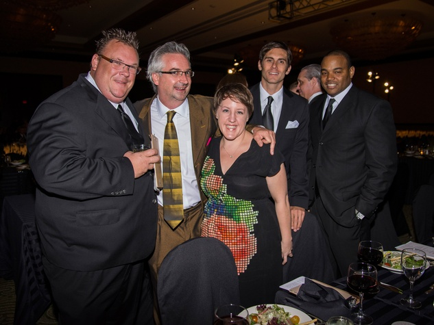Chris Shepherd, from left, Brad Moore, Ceci Norman, Paul Petronella and Mike Criss at the Rice Design Alliance Gala November 2013