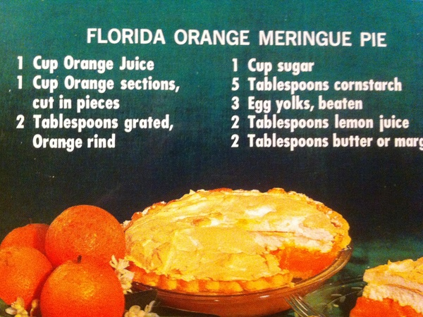 Marene, pie recipe, Florida Orange Meringue Pie