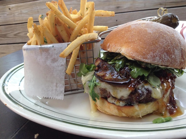 BRC American Gastropub Jr.'s Le Burger with raclette and foie gras hamburger french fries