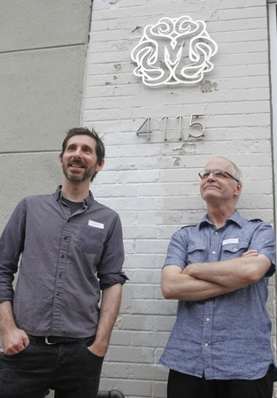 Craig Drake and Robert Brandenburg in front of the Mondo Gallery