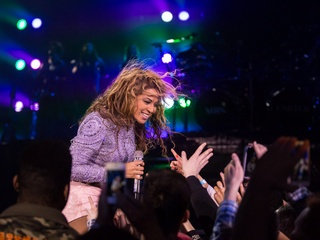 Beyonce in concert with fans