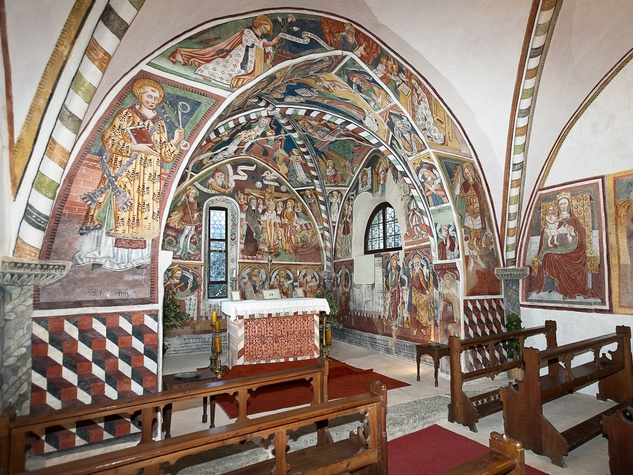 On the Market Castel Valer in northern Italy near Milan May 2014 church altar