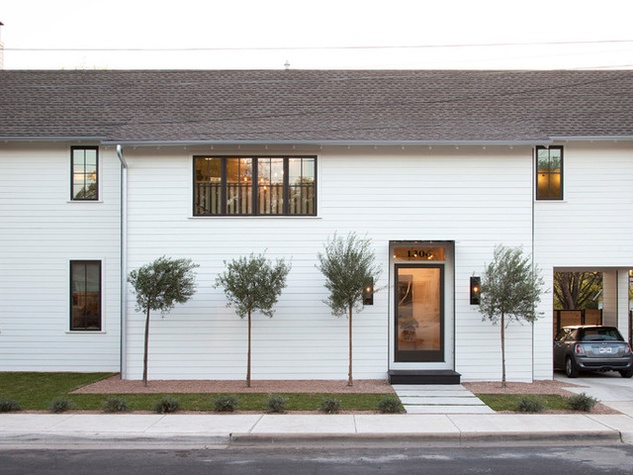 Houzz Austin home house modern Texas farmhouse exterior front