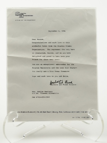 Maxine Mesinger auction October 2013 letter from Frank and Barbara Sinatra