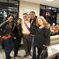 Yvette Thomas, Veena Chandrakar, Roland Maldonado, Washington Sereatan, Bernadette Parnell at Whataburger party