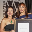 Samina Fari, left, and Cheryl Creuzot at the Women's Chamber of Commerce Hall of Fame Gala December 2014
