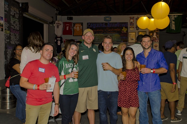 3 Chris Malzone, from left, Kara and Joe Farley, Jake Powers, Anastasia Pemberton and Kameron Klott at the Bear Bryant Awards young professionals party October 2014
