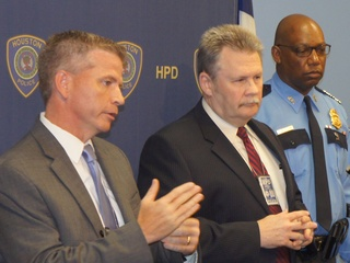 PD Homicide detectives Brian Harris and Millard Waters and Police Cheif McClelland IAH shootin May 2013