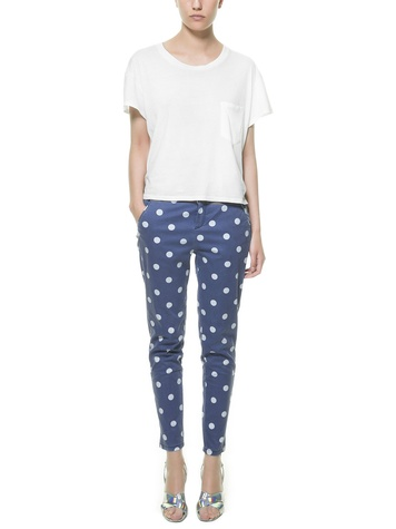 ZARA POLKA DOT PRINT TROUSERS