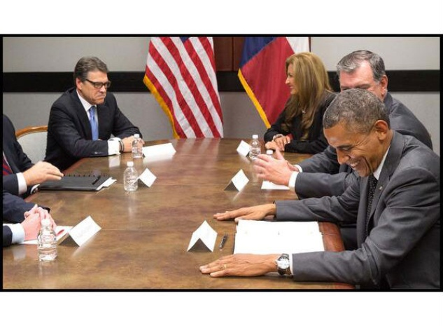 President Barack Obama in Dallas with Rick Perry