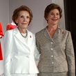 Nancy Reagan and Laura Bush with Oscar de la Renta dresses