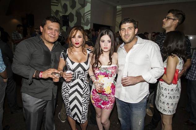 Noah White, from left, Sarah Lockhart, Jasmine Winter and Roger Ramirez at the MFAH Mixed Media Party June 2014
