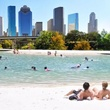 Houston Needs A Swimming Hole! rendering of swimming hole with Houston skyine November 2014