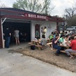 Boil House crawfish customers picnic tables