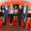 Brandon and Audrey Cochran and Kathleen and James Jennings with Texans cheerleaders at the Friday Night Lights DePelchin benefit November 2014
