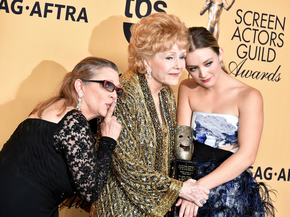 Carrie Fisher, Debbie Reynolds and Billie Lourd at Screen Actor Guild Awards